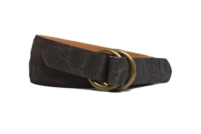 O RINGS CHOCOLATE SUEDE BELT