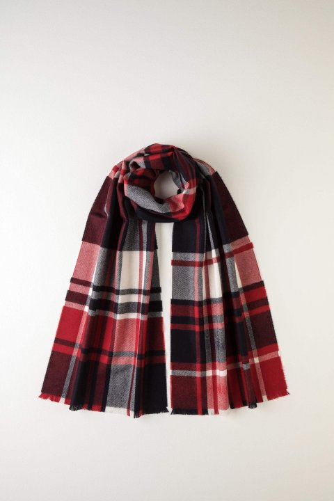 JOHNSTONS OF ELGIN - BUFFALO CHECK RED MERINO SCARF