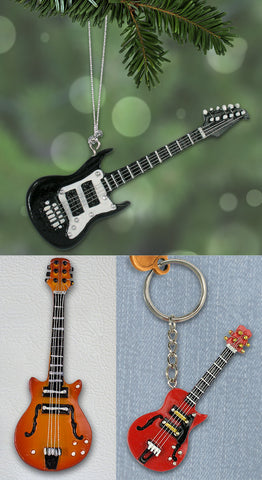 Electric Guitar Gift Set - 1 Ornament, 1 Magnet and 1 Key chain