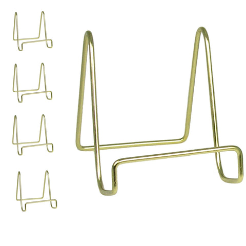 "4"" Gold Wire Easel Display Plate Holders Set of 4"