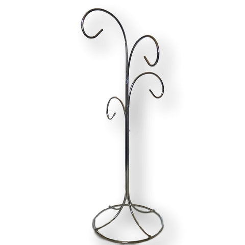 "4 Arm Ornament Stand - Smooth Chrome Finish - 13""H"