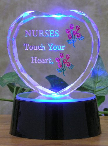 Nurse Gift - LED Lighted Glass Heart on a Mirrored Base - Nurses Touch Your Heart