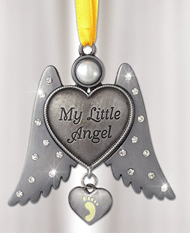 Jeweled Angel Hanging Ornament Baby Footprint Heart Shaped Charm