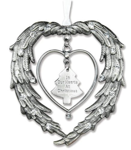 "Remembrance Ornament ""In Our Hearts At Christmas"" Angels Wings Jewel Accents"