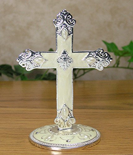 Metal Cross on Base Jeweled and Enameled Accents Decorative Centerpiece Gift for Baptism In Loving Memory Sympathy Bereavement - 4 Inch