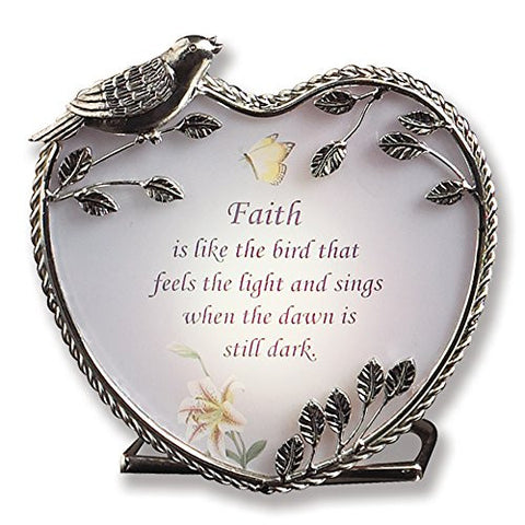 Banberry Designs Faith Candle Holder Inspirational Message - 4 Inch