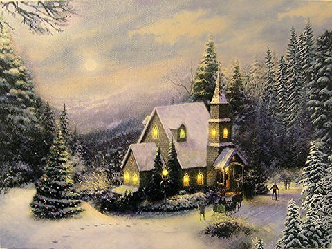 Lighted Christmas Wall Art - LED Light Up Canvas with a Wintry Scene - Forest Setting with Snow and Lights