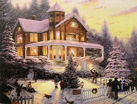 Christmas LED Wall Art - Winter Scene with a Victorian House in a Snowy Setting - Christmas Lights in the Trees Light Up