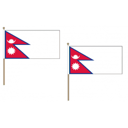 Nepal Fabric National Hand Waving Flag