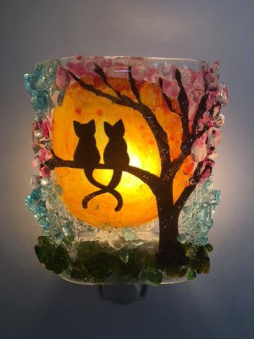Night Light - Kitties In Spring Cherry Bloosom Tree
