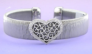 Stainless Steel Cuff With Sterling Diamond Heart