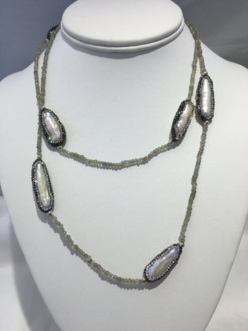 Pearl Necklace On A Moonstone Beads