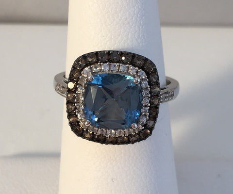 14k Blue Topaz Ring With White & Chocolate Diamonds