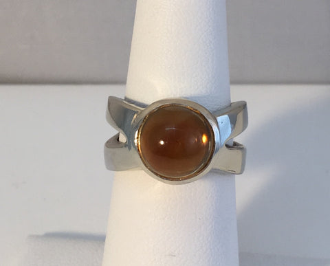 14k White Gold X Ring With Citrine