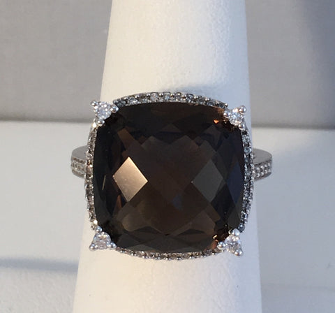 14k White Gold Smokey Quartz Ring