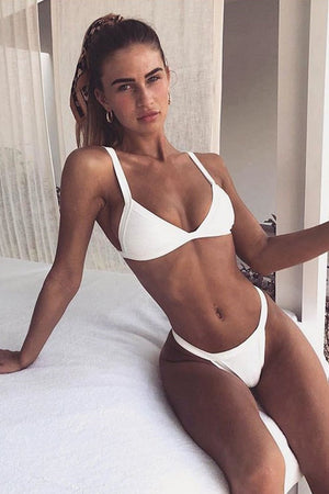 White Ribbed Triangle Bikini Top