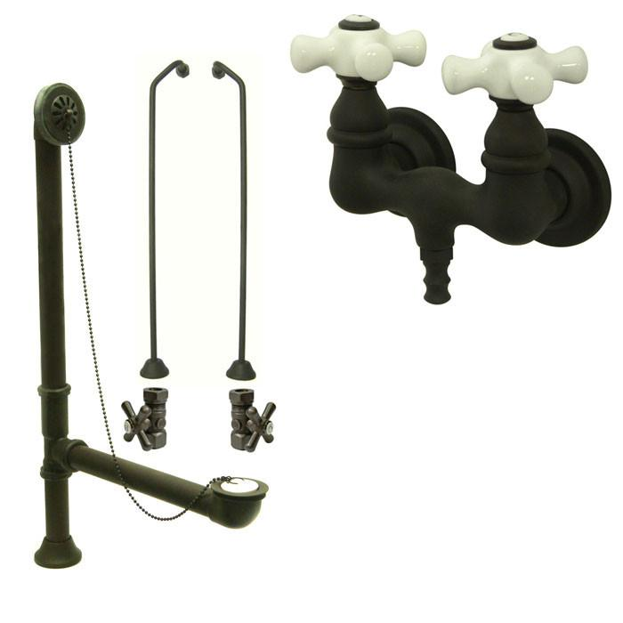 Oil Rubbed Bronze Wall Mount Clawfoot Bath Tub Filler Faucet Package CC39T5system