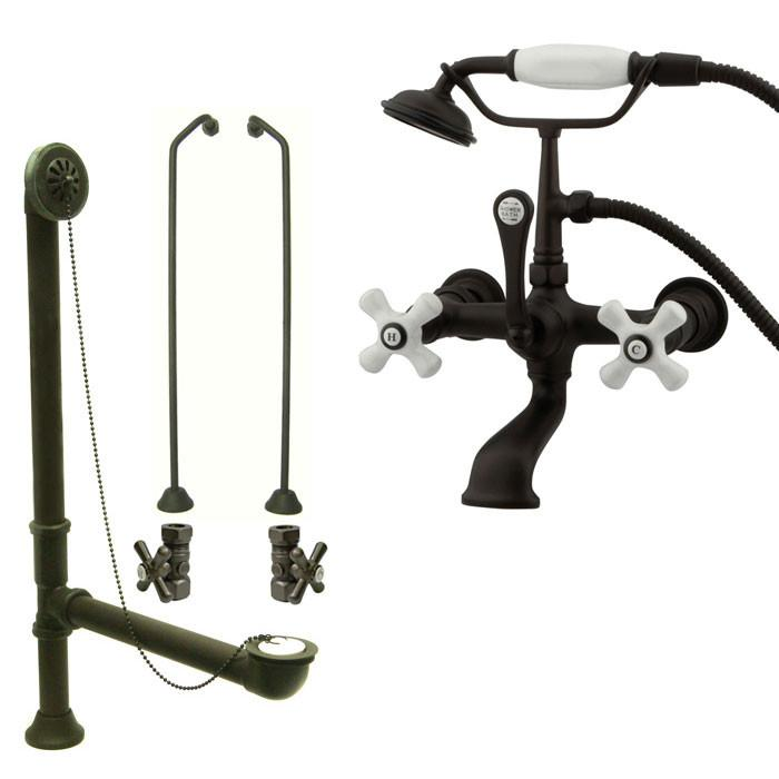 Oil Rubbed Bronze Wall Mount Clawfoot Tub Faucet w Hand Shower Package CC559T5system