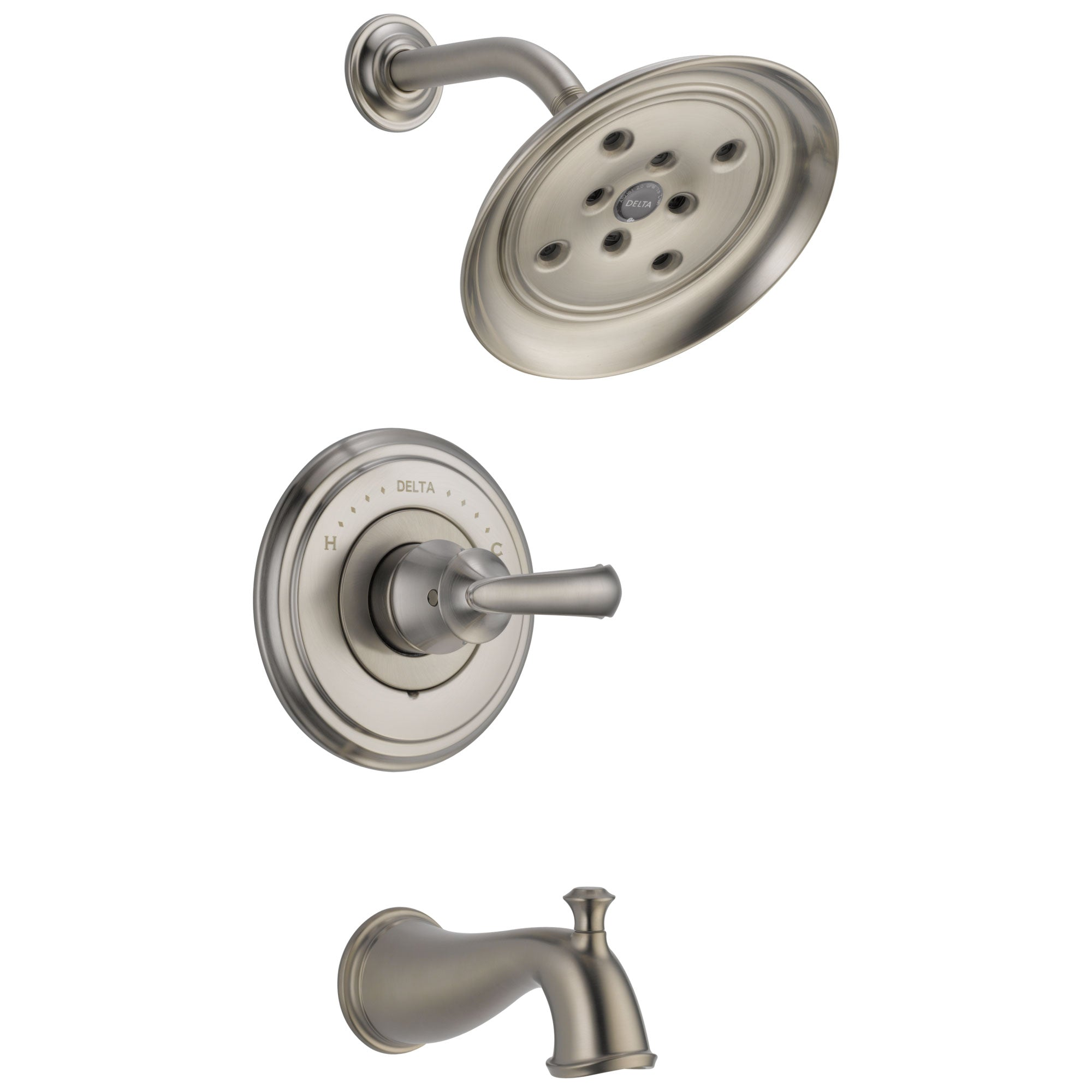 Delta Cassidy Collection Stainless Steel Finish Monitor 14 Tub and Shower Faucet Combo INCLUDES Single Scroll Lever Handle and Rough-Valve without Stops D1466V