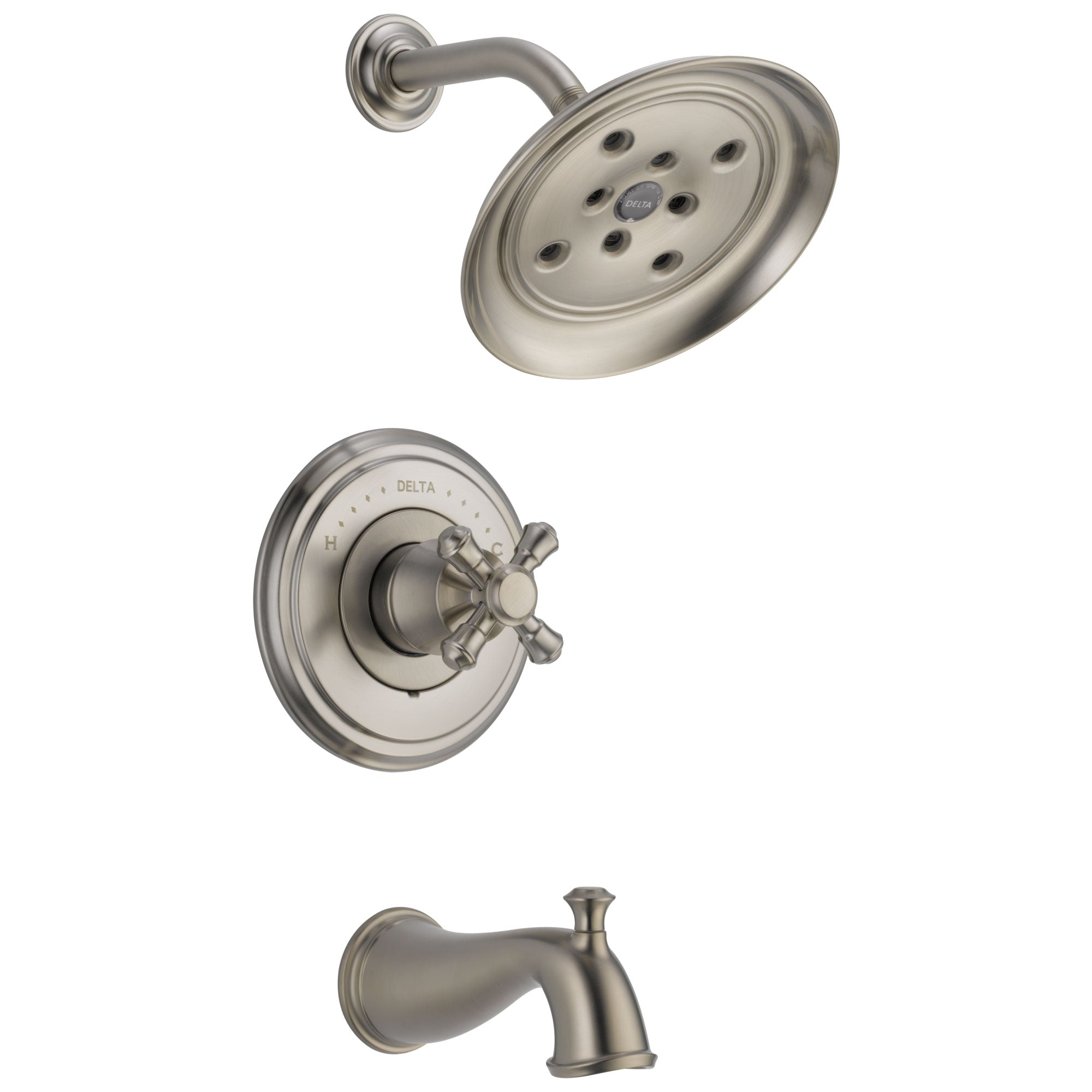 Delta Cassidy Collection Stainless Steel Finish Monitor 14 Tub and Shower Faucet Combo INCLUDES Single Cross Handle and Rough-Valve with Stops D1467V