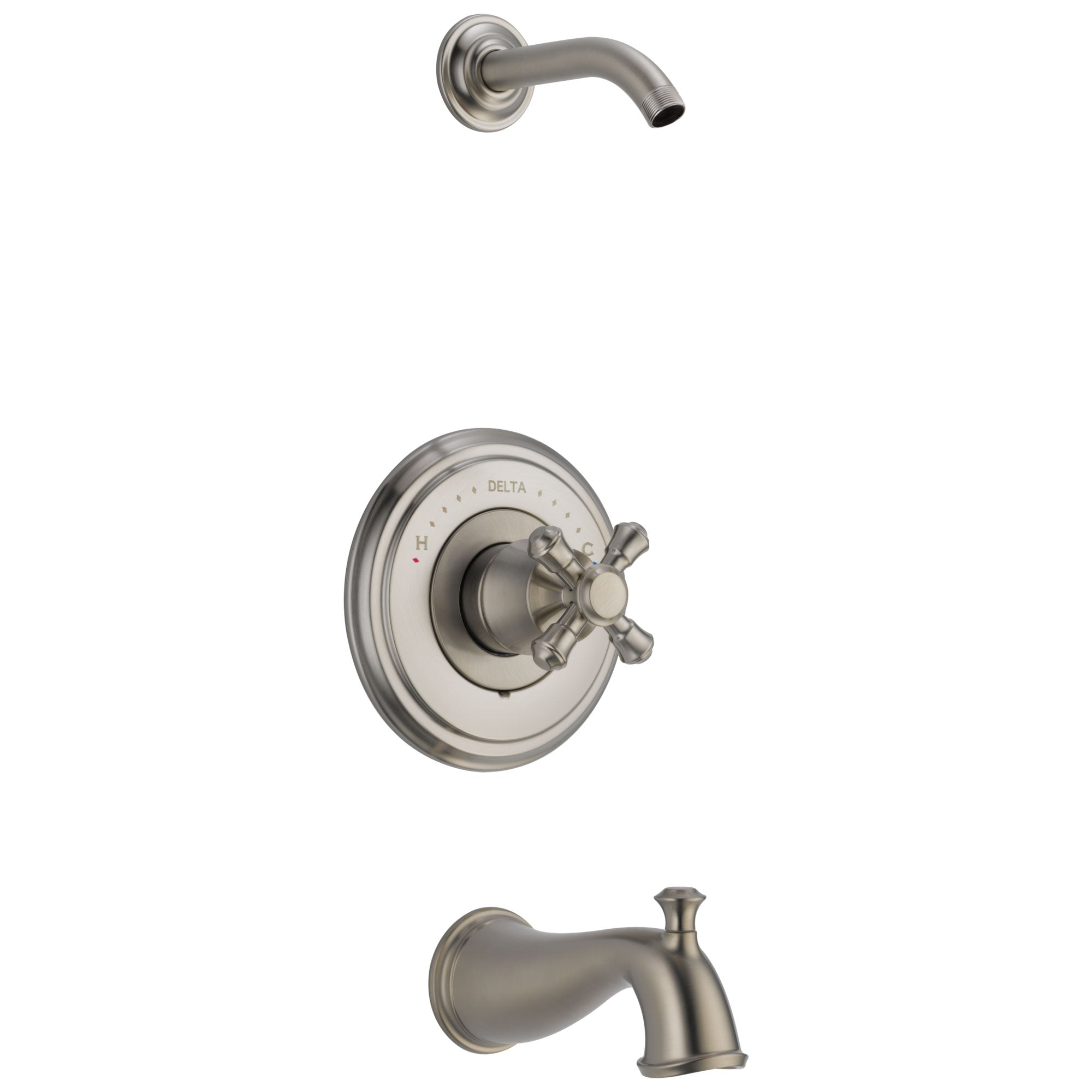 Delta Cassidy Collection Stainless Steel Finish Tub and Shower Combination - Less Showerhead INCLUDES Single Cross Handle and Rough-in Valve without Stops D1814V