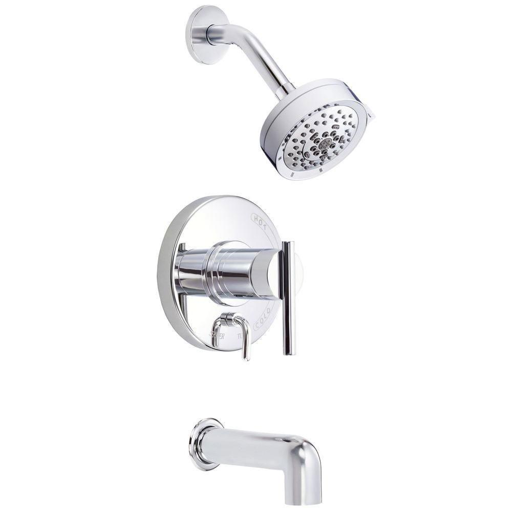 Danze Parma 1-Handle Pressure Balance Tub and Shower Faucet Trim Kit in Chrome (Valve Not Included) 635286