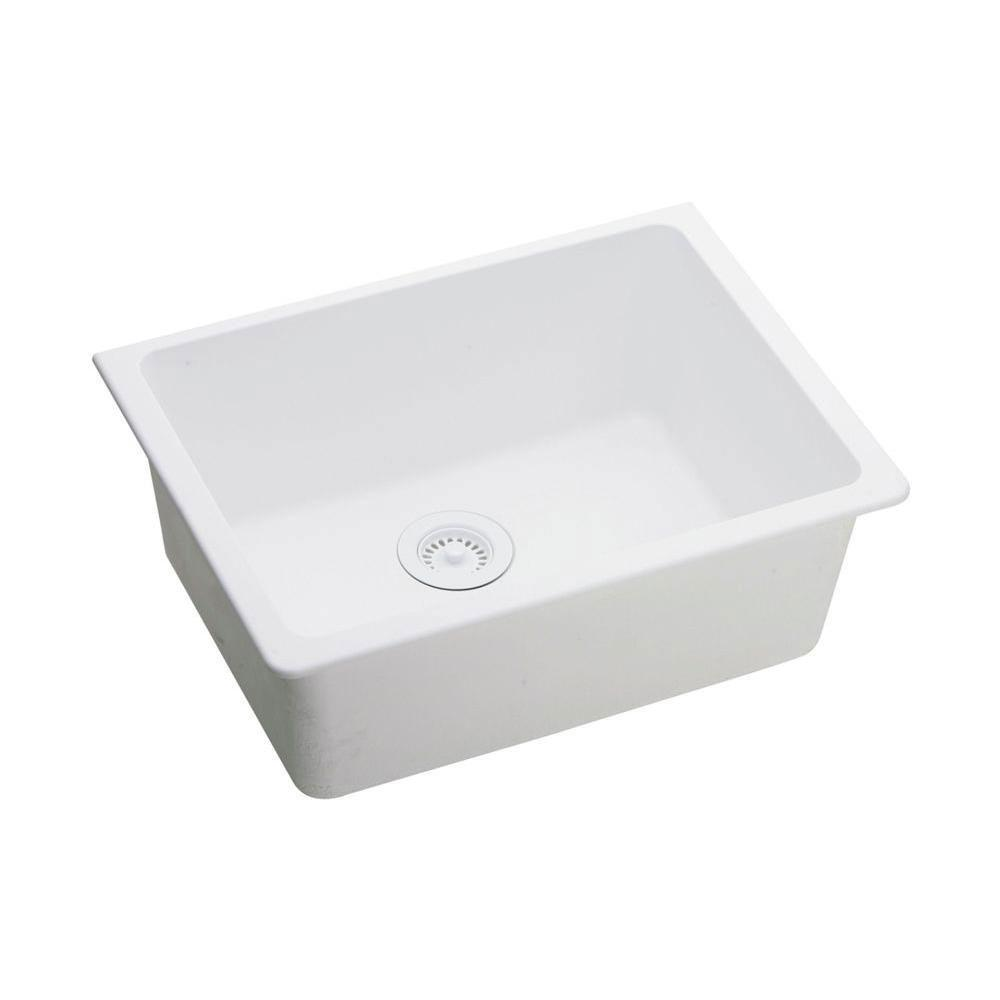 Elkay Gourmet Undermount Composite 18.5 inch x 25 inch x 18.5 inch 0-Hole Single Bowl Kitchen Sink in White 445141