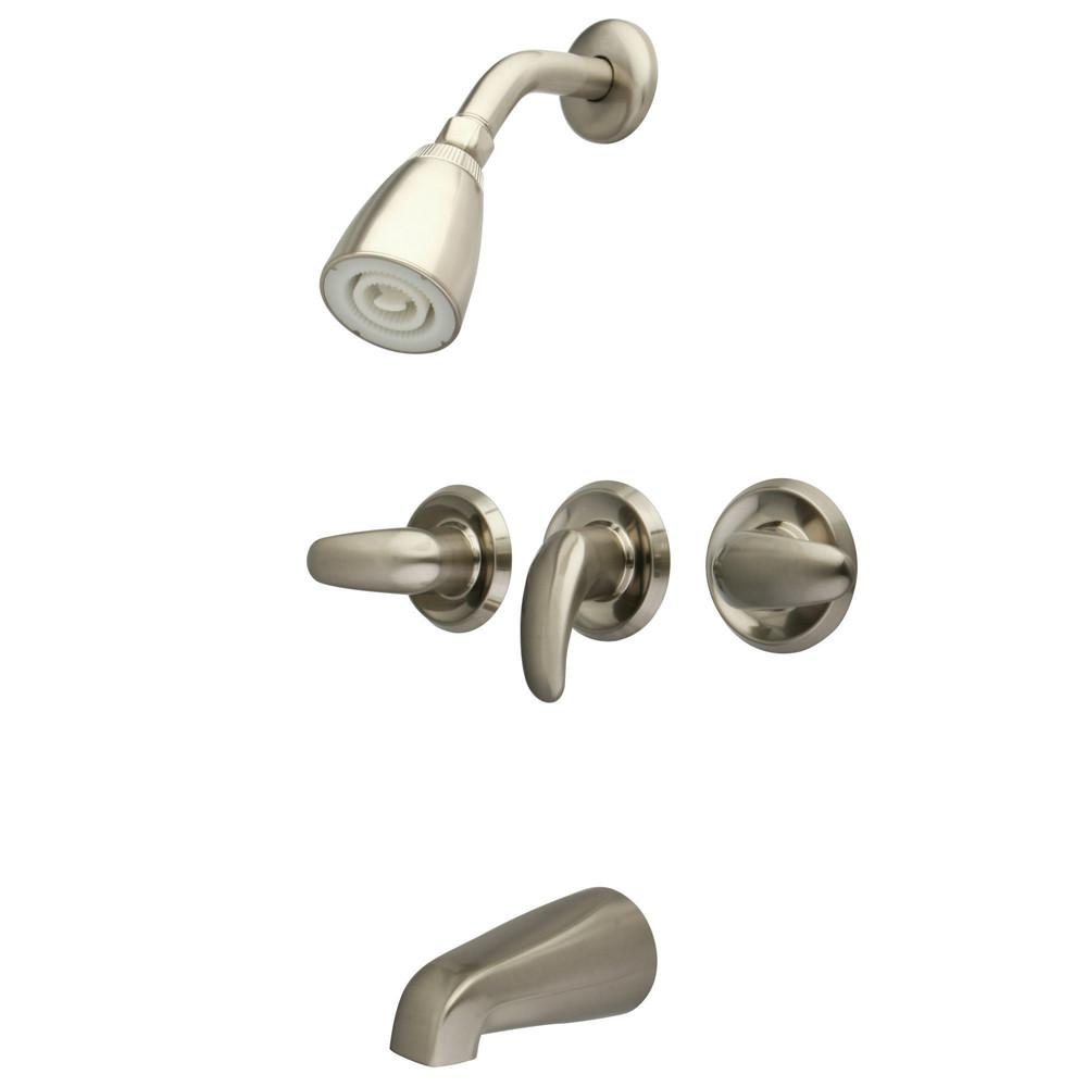 Kingston Satin Nickel Three Handle Tub and Shower Combination Faucet KB6238LL