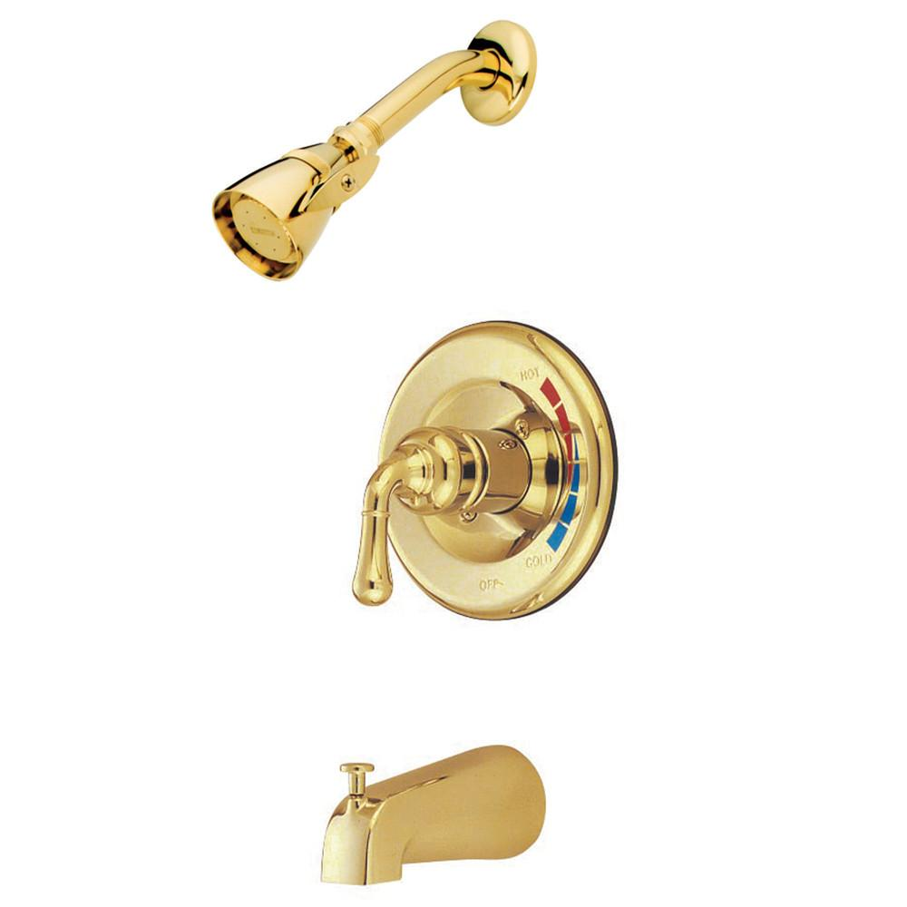 Kingston Polished Brass Magellan 1 handle tub and shower combination faucet KB632