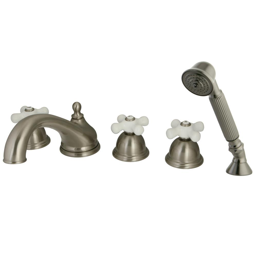 Satin Nickel 3 handle Roman Tub Filler Faucet with Hand Shower KS33585PX