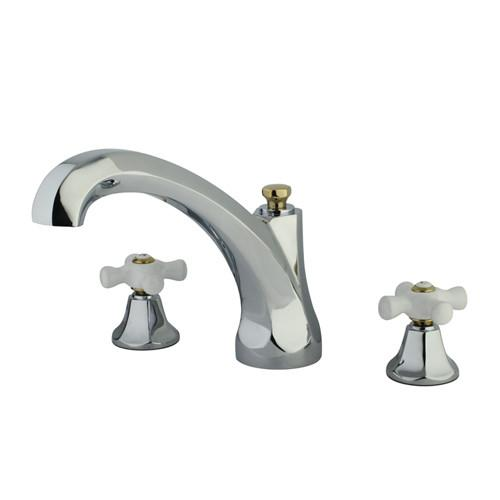 Kingston Chrome / Polished Brass Metropolitan Roman Tub Filler Faucet KS4324PX