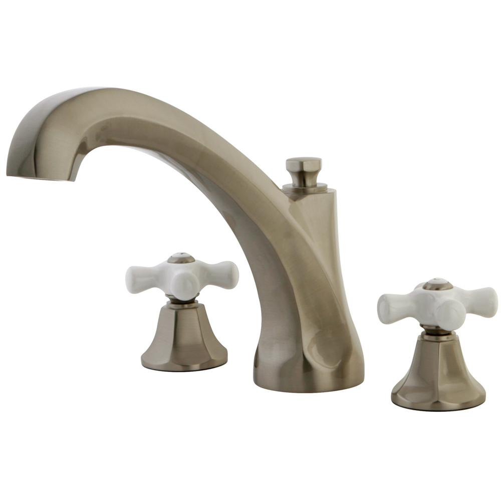 Kingston Satin Nickel Metropolitan Two Handle Roman Tub Filler Faucet KS4328PX