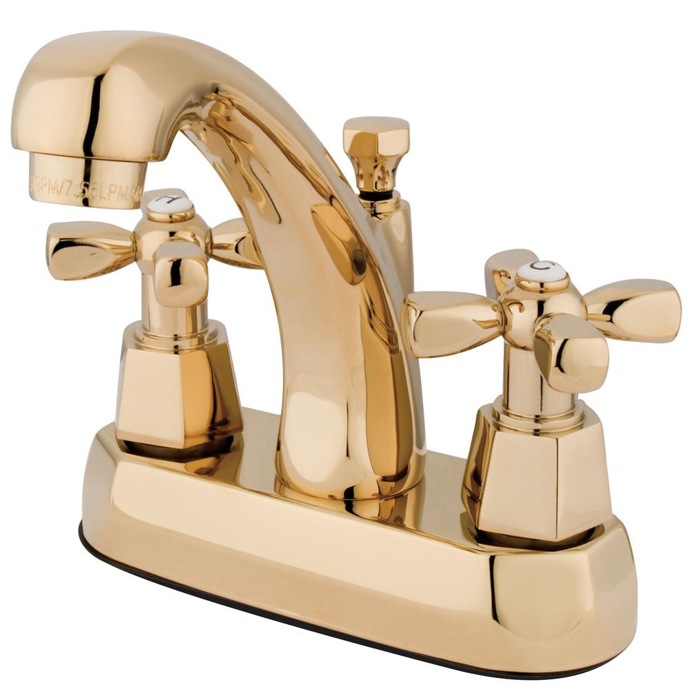 "Kingston Polished Brass 2 Handle 4"" Centerset Bathroom Faucet w Pop-up KS4612HX"