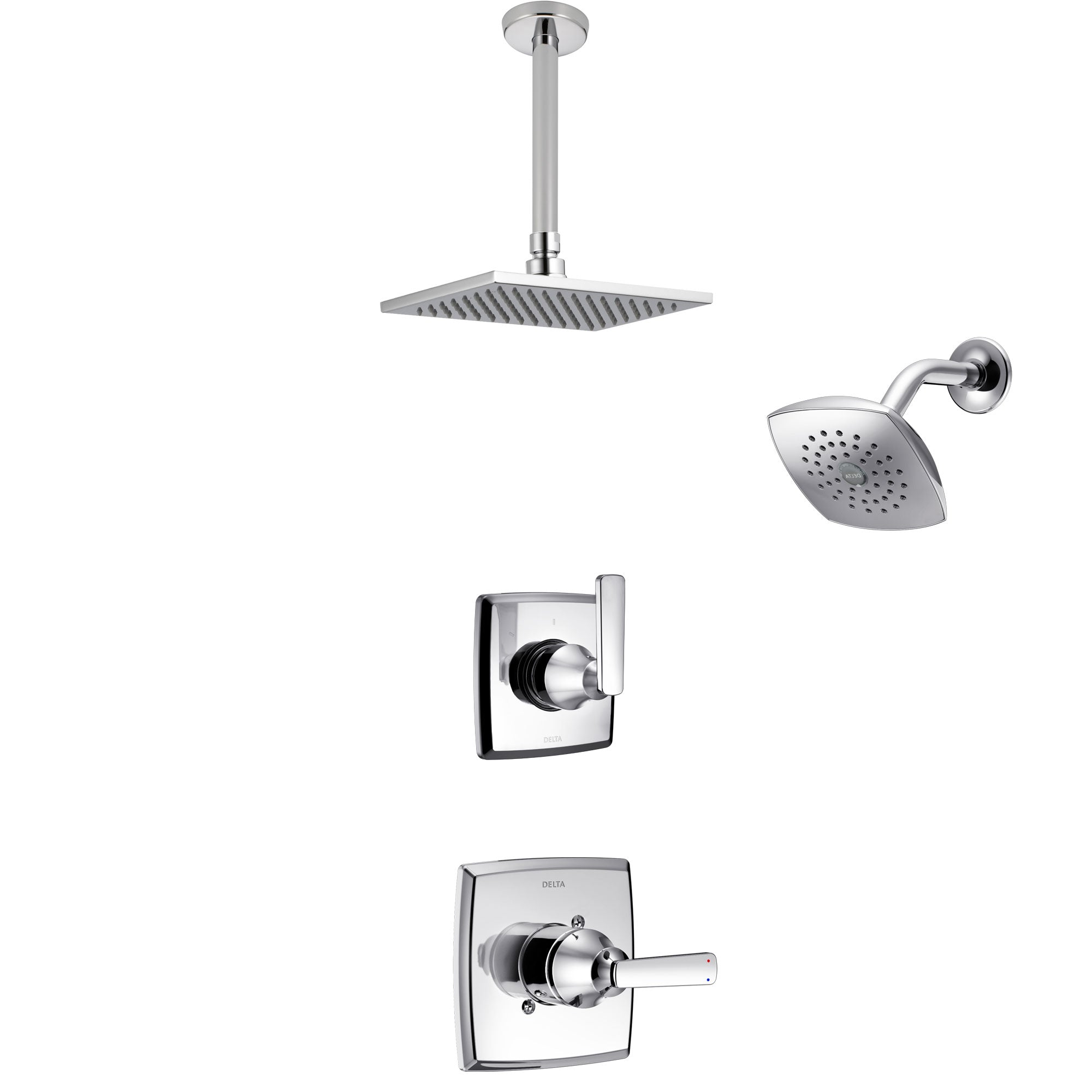 Delta Ashlyn Chrome Finish Shower System with Control Handle, 3-Setting Diverter, Showerhead, and Ceiling Mount Showerhead SS1426413