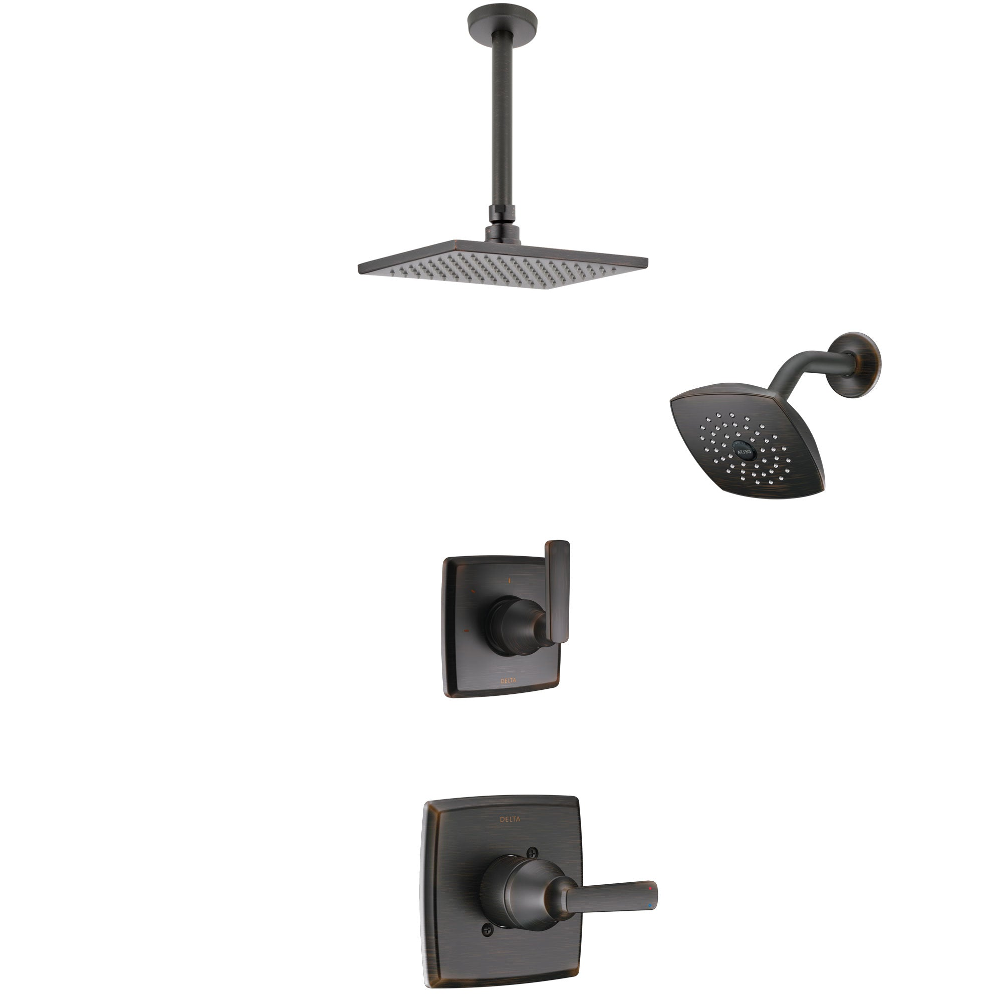 Delta Ashlyn Venetian Bronze Finish Shower System with Control Handle, 3-Setting Diverter, Showerhead, and Ceiling Mount Showerhead SS142641RB5
