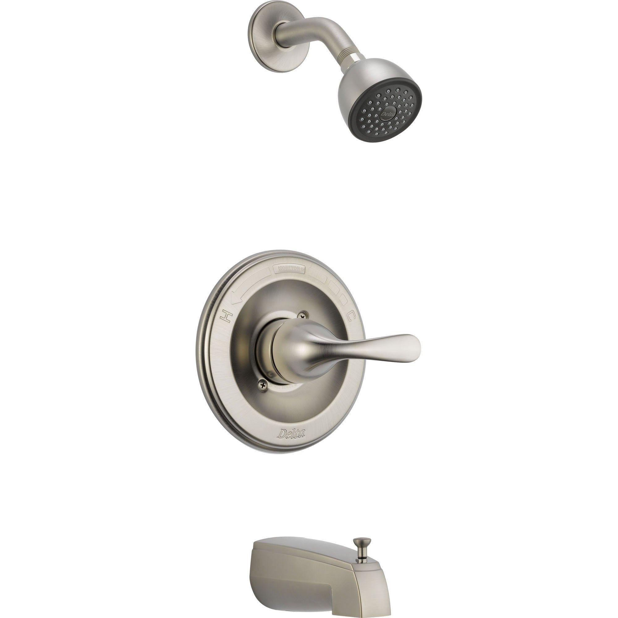 Delta Stainless Steel Finish Tub and Shower Combination Faucet with Valve D350V