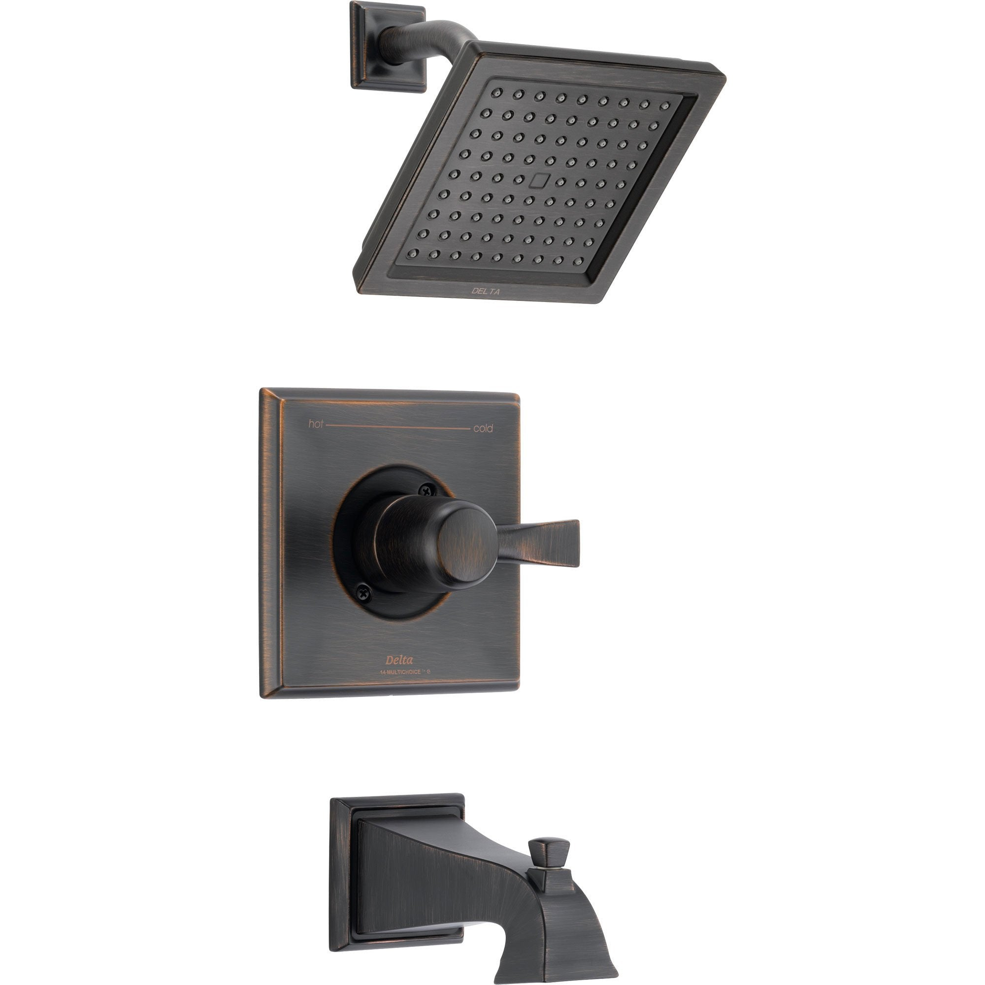 Delta Dryden Modern Square Venetian Bronze Tub and Shower Faucet Trim 456209