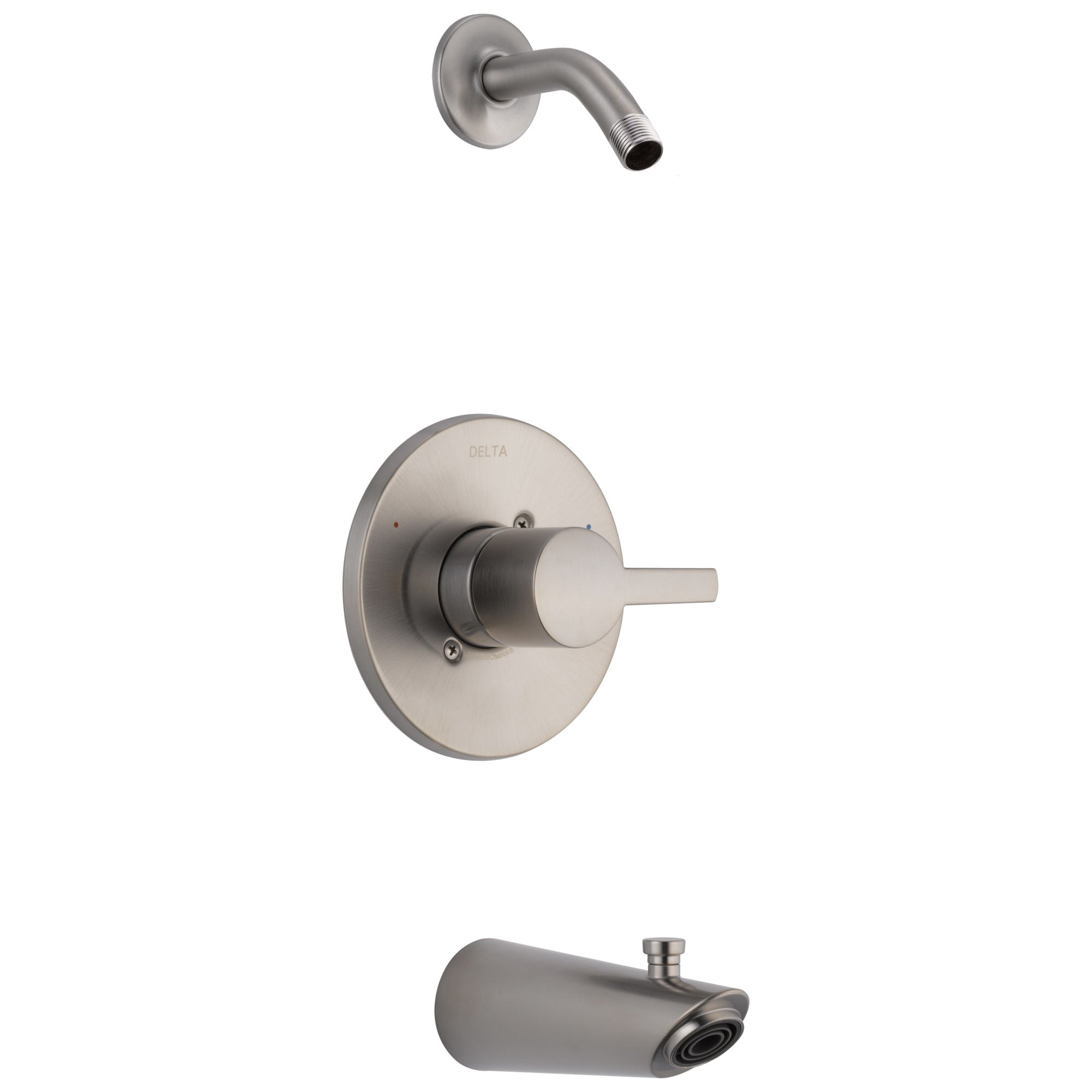 Delta Compel Collection Stainless Steel Finish Monitor 14 Modern Tub & Shower Combination Faucet Trim - Less Showerhead Includes Valve without Stops D2393V