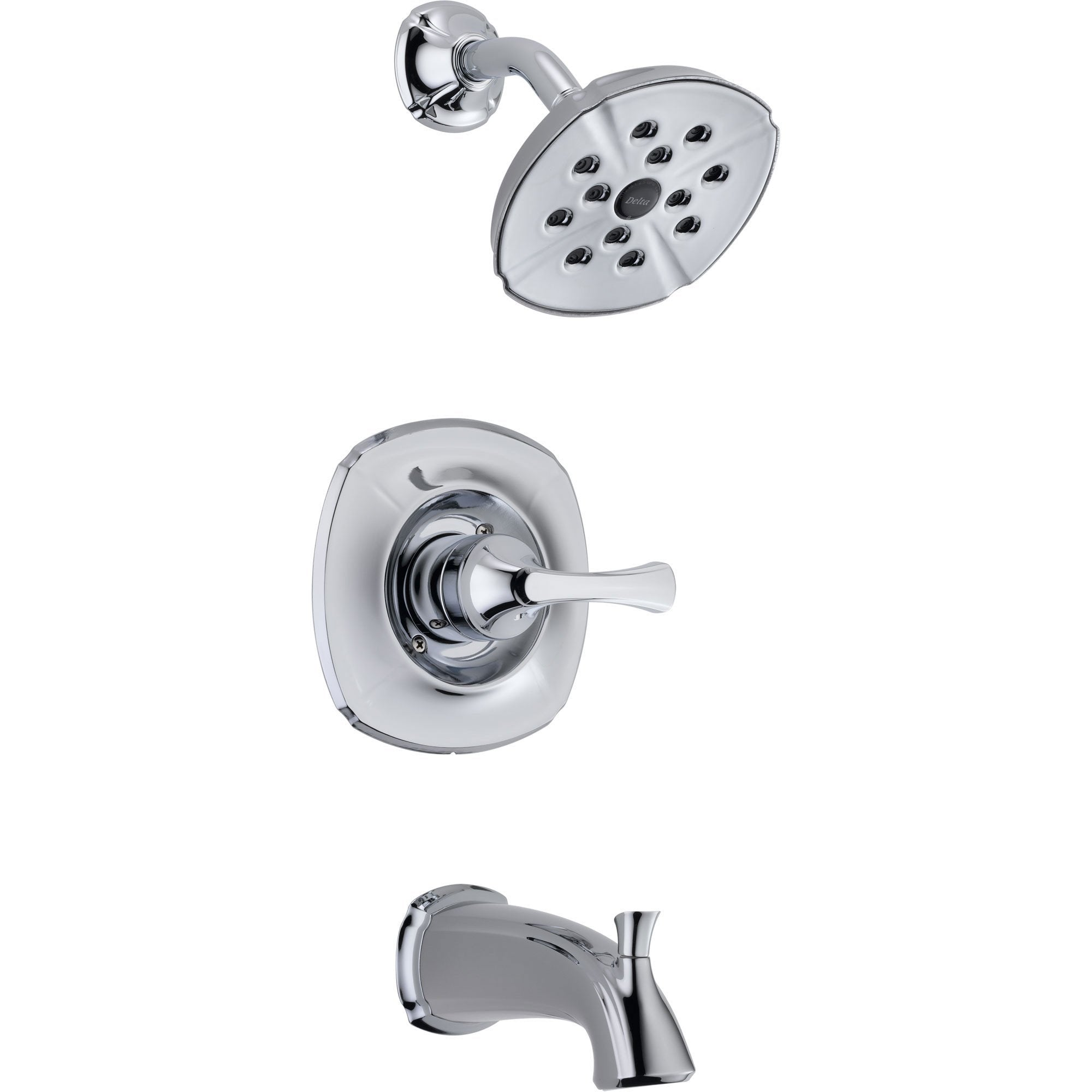 Delta Addison Modern Wall Mount Chrome Tub and Shower Faucet with Valve D271V