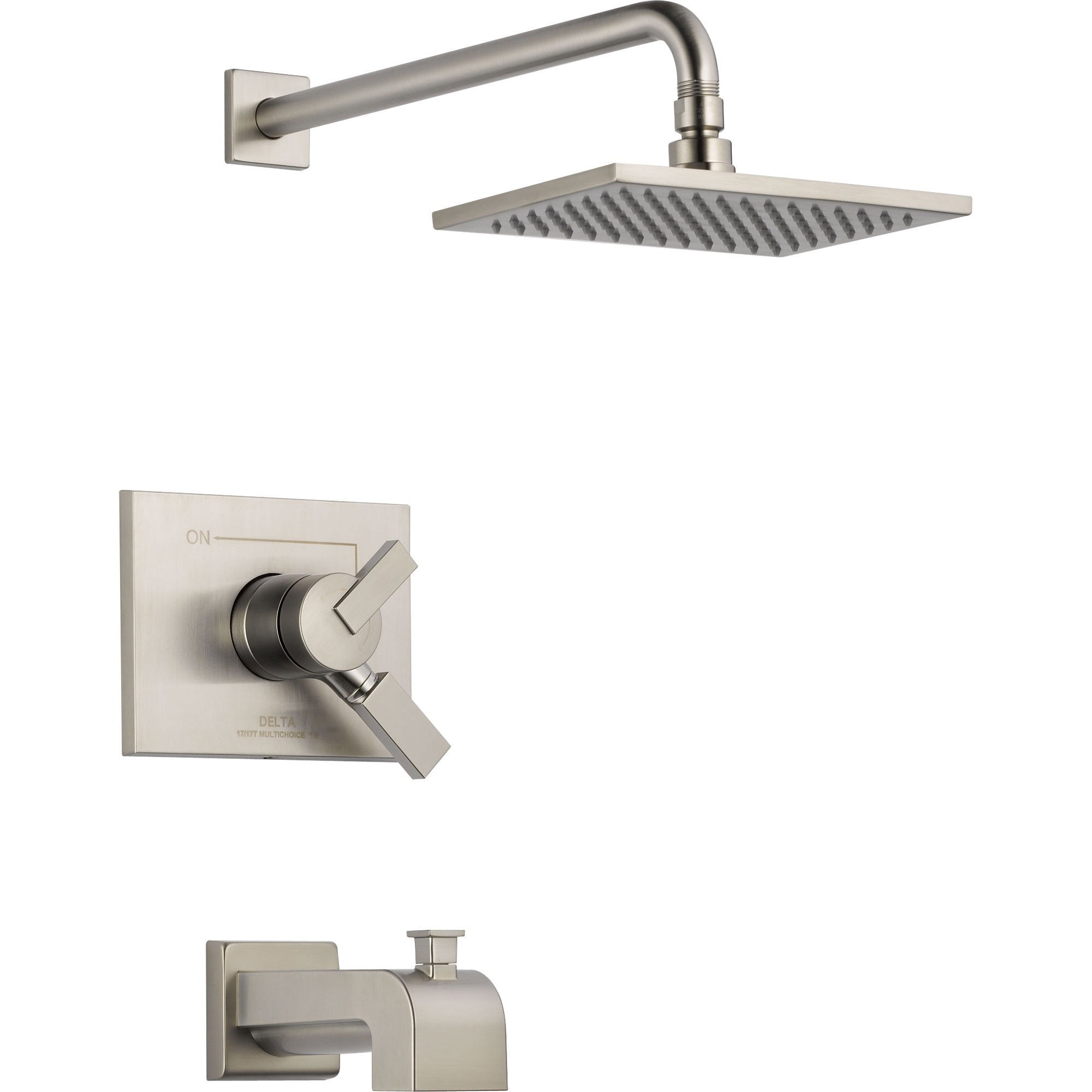 Delta Vero Stainless Steel Finish Two Control Tub and Shower with Valve D384V