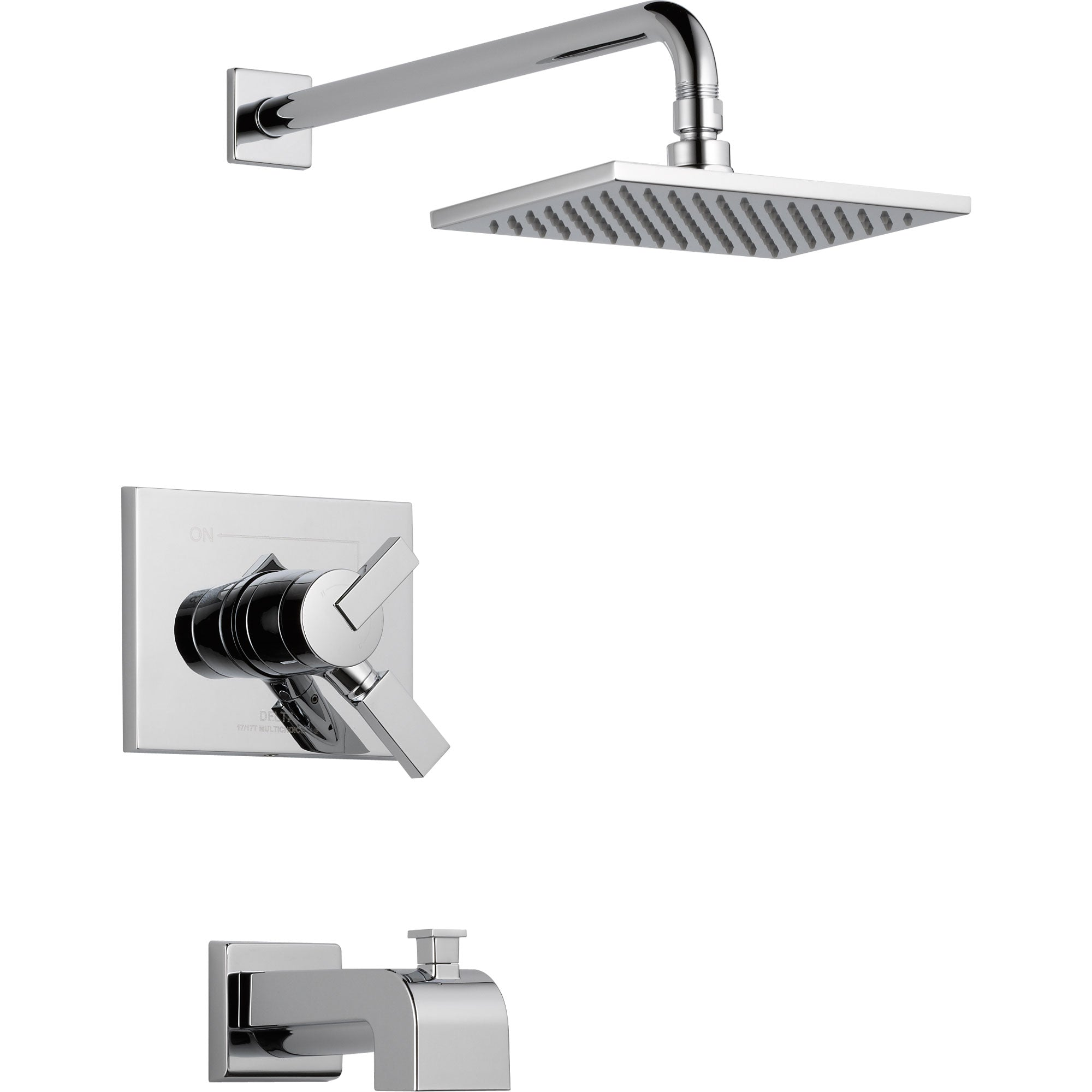 Delta Vero Chrome Modern Square Dual Control Tub and Shower Faucet Trim 521938