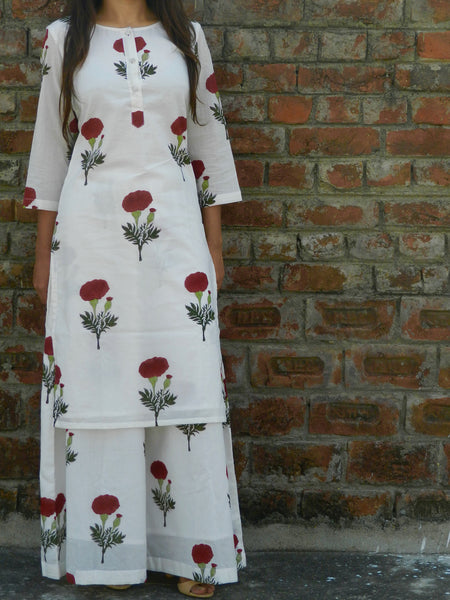 Red Mogra Pallazo Set