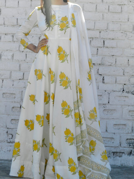 Yellow Rose Blockprint Anarkali Suit with Dupatta
