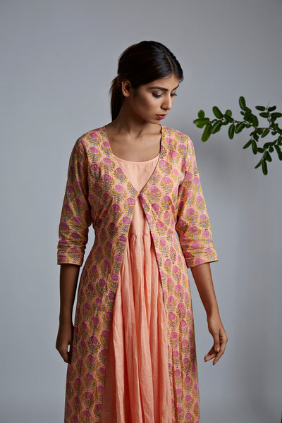 Peach Rose Blockprint Cover Up Jacket