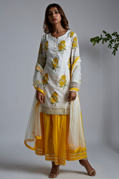 Yellow Rose Kurta with Plain Yellow Skirt & Net Dupatta - Set of 3