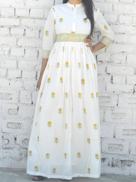 Yellow Mini Flower Blockprint Maxi