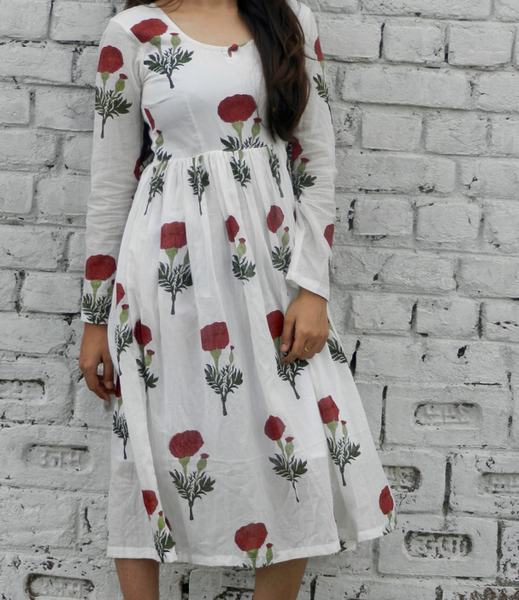Red Mogra Block Print Midi