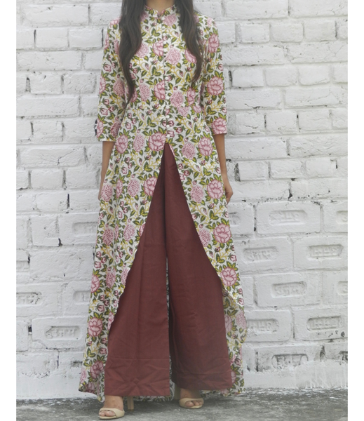 Rose Garden High Low Mandarin Cape With Marsala Pants