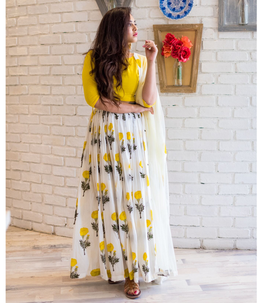 Yellow Mogra Lehenga Set
