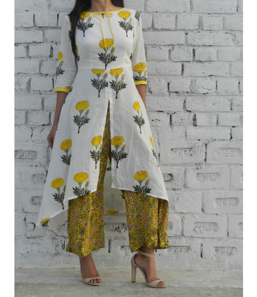 Yellow Mogra High Low Cape with Yellow Wide Leg Pants